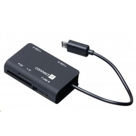 CONNECT IT Čtečka paměťových karet + USB hub pro Samsung, micro USB, černá