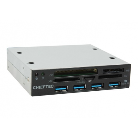 """CHIEFTEC čtečka karet CRD-801H, 3,5"""", 50 in 1, USB 3.0 interface, 4 x USB 3.0 hub"""