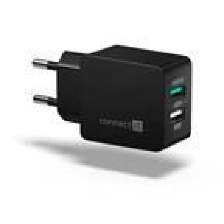 CONNECT IT  Fast Charge nabíjecí adaptér 2×USB-A, 3,4A, černý