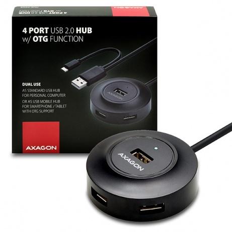AXAGON - HUE-X6GB 4x USB2.0 hub 80cm cable + micro USB OTG BLACK