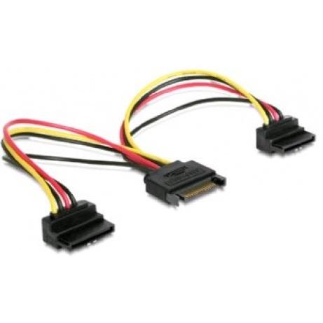 Kabel SATA napájecí na 2x SATA 90°, rozdvojka,15cm