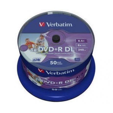 VERBATIM DVD+R(50-pack)DoubleLayer/Spindle/8X/8.5GB/Printable/NoID