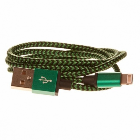 CELLFISH pletený datový kabel z nylonového vlákna, Lightning, 1 m, zelená