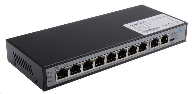 MaxLink PoE switch PSAT-10-8P-250, 10x LAN/8x PoE 250m, 802.3af/at, 120W, 10/100Mbps