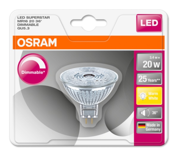 OSRAM LED SUPERSTAR MR16 36° 12V 3,4W 827 GU5.3 DIM A+ Sklo 230lm 2700K 25000h (blistr 1ks)