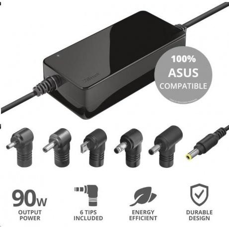 TRUST napájecí adaptér pro notebooky ASUS 90W, vč. koncovek