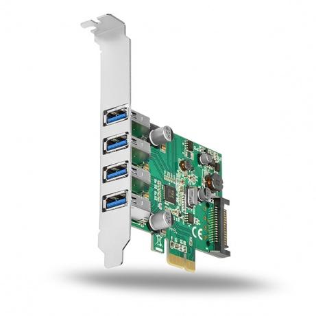 AXAGON PCEU-43V, PCIe adaptér, 4x USB3.0, UASP, nabíjení 3A, vč. LP