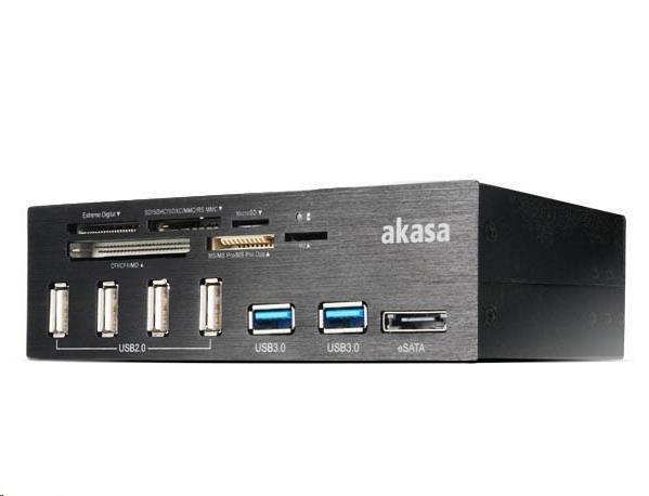 """AKASA přední panel do 5,25"""", USB, čtečka paměťových karet, eSATA"""