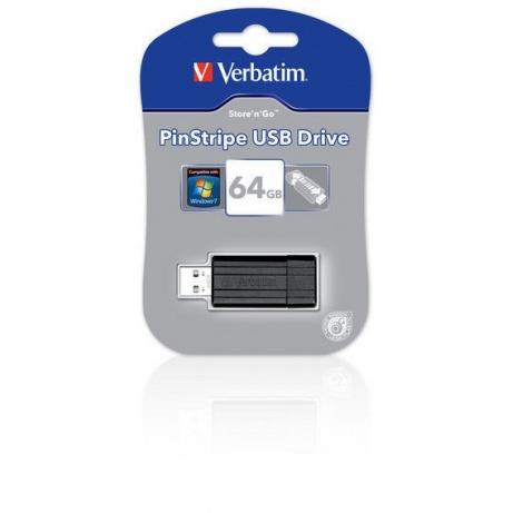 VERBATIM USB Flash Disk Store 'n' Go PinStripe 64GB - Black