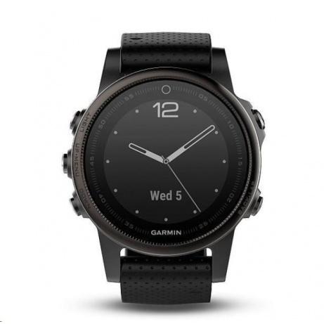 Garmin GPS sportovní hodinky fenix5S Sapphire Gray Optic, černý řemínek
