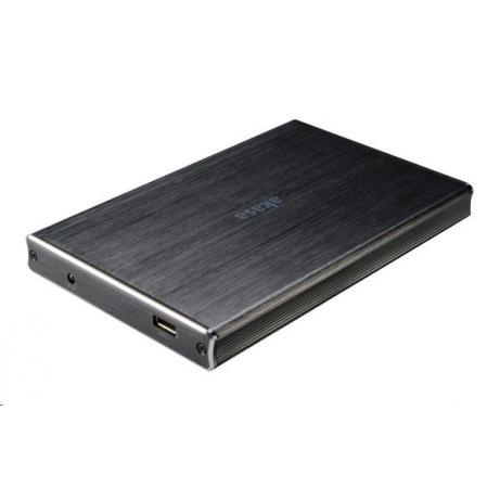 """AKASA HDD box Noir 2SX, 1x 2,5"""" SATA HDD/SSD, USB 3.1, broušený černý hliník"""