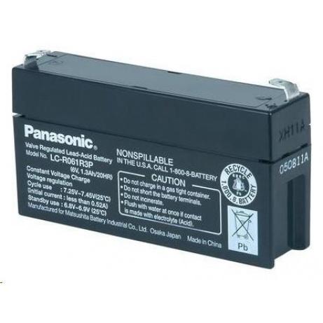 Baterie - Panasonic LC-R061R3P (6V/1,3Ah - Faston 187), životnost 6-9let