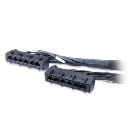 APC Data Distribution Cable, CAT6 UTP CMR 6xRJ-45 Black, 11ft (3.3M)