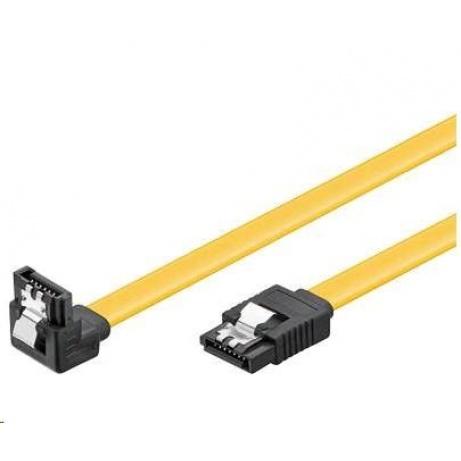 PREMIUMCORD Kabel SATA 3.0 datový 50cm lomený 90°, kovové západky