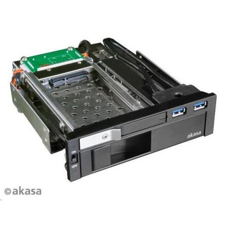 """AKASA HDD box Lokstor M51, 3.5"""" a 2.5"""" SATA HDD do 5.25"""" interní pozice, USB 3.0, černá"""