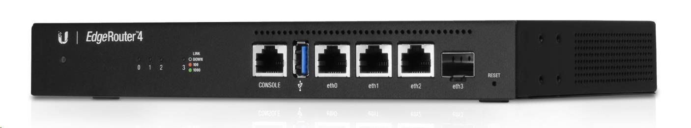 UBNT EdgeMAX EdgeRouter 4 [1GHz quad-core CPU, 1GB RAM, EdgeOS, 3 gigabitové porty + 1xSFP slot, fanless]