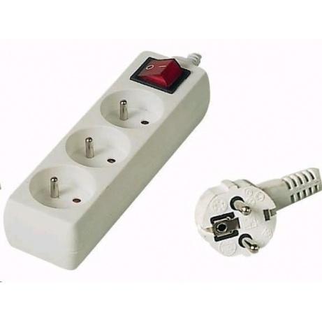 PREMIUMCORD Prodlužovací přívod 230V 10m, 3 zásuvky + vypínač, bílá