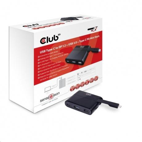 Club3D Mini dock USB typ C na DisplayPort 1.2 4K60Hz UHD (přepínatelné)/USB/USB-C PD, nabíjecí