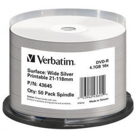 VERBATIM DVD-R(50-Pack)Spindle/Printable/16x/4.7GB/NON-ID /Silver Inkjet