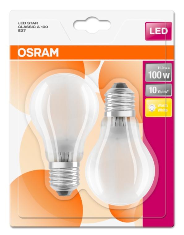OSRAM LED STAR ClasA  230V 11W 827 E27 noDIM A++ Sklo matné 1521lm 2700K 10000h (blistr 2ks)