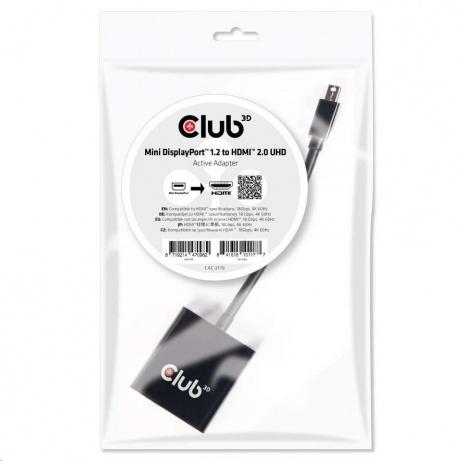 Club3D Adaptér aktivní mini DisplayPort 1.2 na HDMI 2.0 UHD, (M/F), 20cm