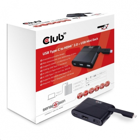 Club3D mini dokovací stanice USB 3.0 typ C na (HDMI™ 2.0 4K60Hz UHD/USB 2.0/USB-C), nabíjecí