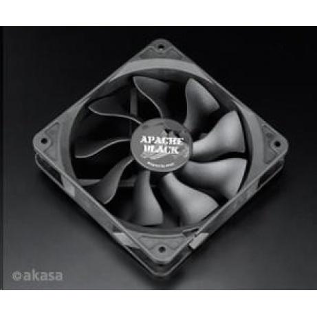 AKASA Ventilátor APACHE Black, 120 x 25mm, PWM regulace, extra výkonný a tichý, HDB ložisko, IP54