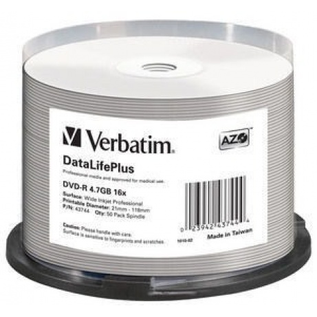 VERBATIM DVD-R(50-Pack)Spindle/Printable/16x/4.7GB/WIDE PRINTABLE SURFACE NON-ID