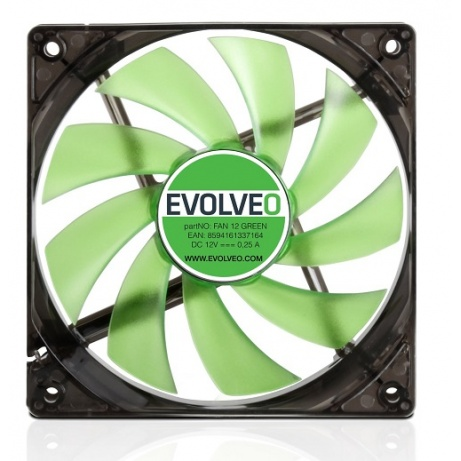EVOLVEO 12L1GR ventilátor 120mm, 4 LED zelený, 3pin