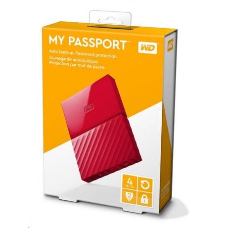"BAZAR - WD My Passport 4TB Ext, 2,5"" USB3.0, RED"