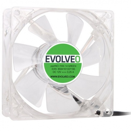 EVOLVEO 14L1GR ventilátor 140mm, 4 LED zelený, 3pin