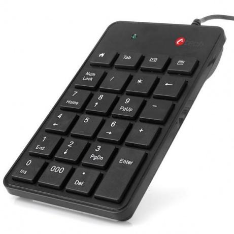 C-TECH klávesnice numerická KBN-01, 23 kláves, USB slim black