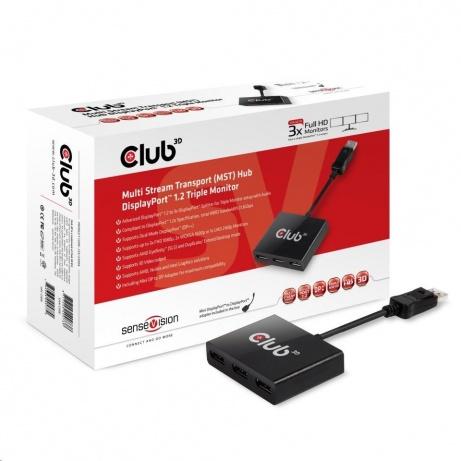 Club3D Video hub MST (Multi Stream Transport) DisplayPort 1.2 na 3x DisplayPort 1.2 (M/F)