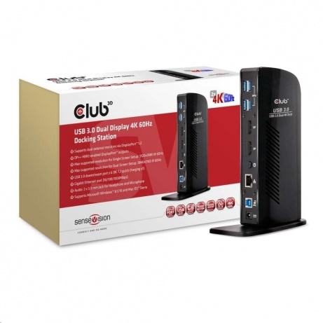 Club3D Dokovací stanice USB-A a USB-C Dual Display 4K60Hz (6x USB 3.0/2x DP/Ethernet/USB-B/2x audio)