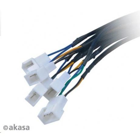 AKASA Kabel  Flexa FP5S redukce pro ventilátory, 1x 4pin PWM na 5x 4pin PWM, 45cm