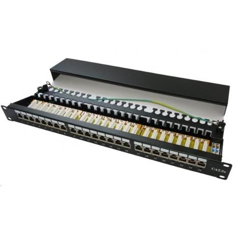 """19"""" Patch panel XtendLan 24port, STP, Cat5E, krone, černý - LED vyhledávání"""
