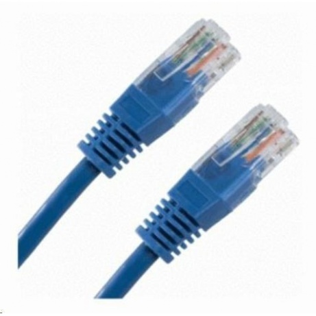 Patch kabel Cat5E, UTP - 0,3m, modrý