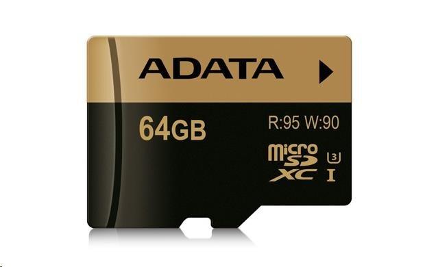 Adata Micro Sdxc Karta Xpg 64gb Uhs I U3 Sd Adapter R 95mb W