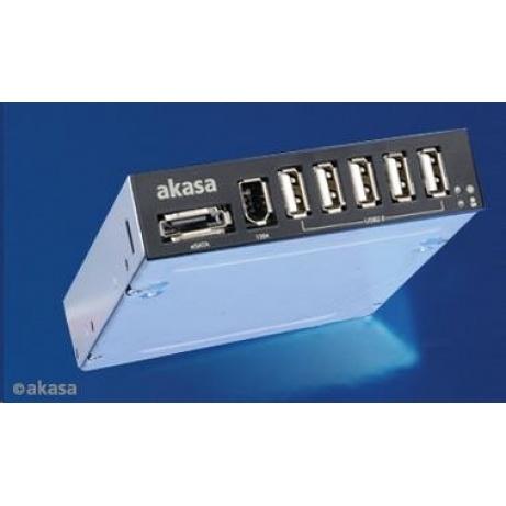 "AKASA HUB USB  InterConnect, do 3,5"" pozice, 5x USB 2.0, 1x E-SATA, 1x1394"