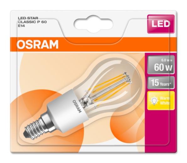 OSRAM LED Filament STAR ClasP  230V 6W 827 E14 noDIM A++ Sklo čiré 806lm 2700K 15000h (blistr 1ks)