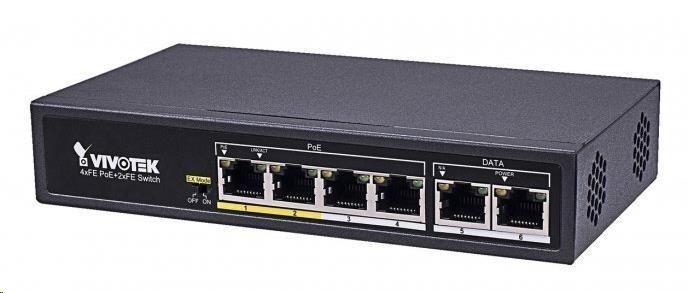 Vivotek 6-ti portový Switch, 4xRJ45 10/100 s PoE (802.3af/at, PoE budget 60W), 2xRJ45 10/100, 4kV přepěťová ochrana