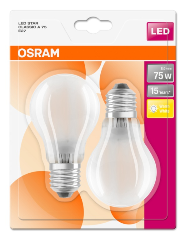 OSRAM žárovka LED Retrofit 230V non-DIM  8W/827 matná E27 (blistr 2ks)