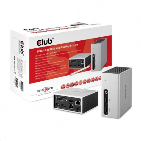 Club3D Mini dokovací stanice USB 3.0 4K UHD (HDMI/DVI/4x USB 3.1/Ethernet/Audio)
