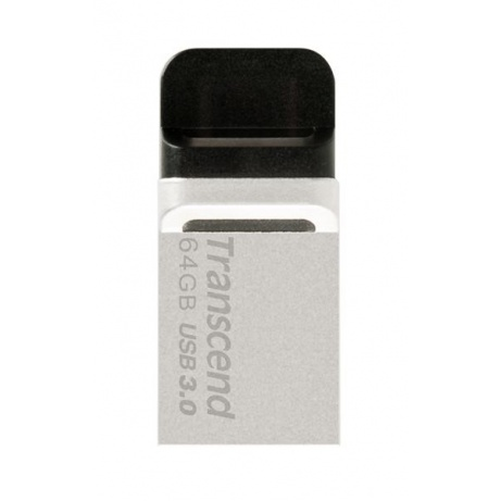 TRANSCEND USB Flash Disk JetFlash®880S, 64GB, USB 3.0/micro USB, Silver (R/W 90/24 MB/s)