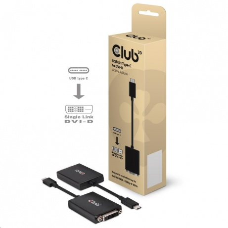 Club3D Adaptér aktivní USB 3.1 typ C na DVI-D (M/F), 18cm