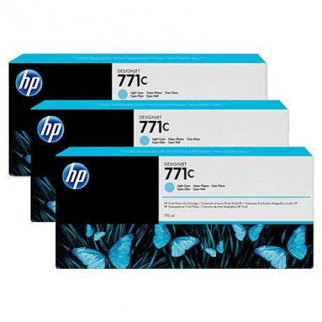 HP 771C Light Cyan DJ Ink Cart, 775 ml, 3-pack, B6Y36A