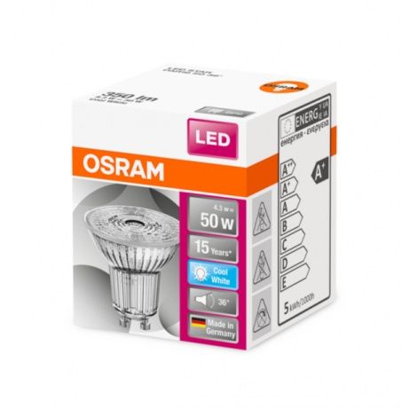 OSRAM LED STAR PAR16 36° 4,3W 840 GU10 350lm 4000K (CRI 80) 15000h A+ (Krabička 1ks)