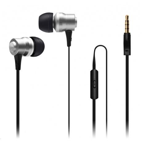 CONNECT IT Alu Sonics sluchátka do uší EP-223-SL s mikrofonem, stříbrná