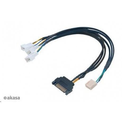 AKASA kabel FLEXA FP3S, pro připojení 3 PWM ventilátorů, 30cm