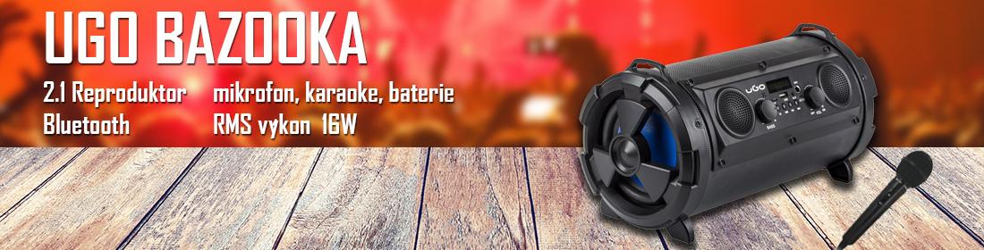 Bluetooth reproduktor UGO Bazooka 16W, 2.1, karaoke, mikrofon, FM rádio, MP3, AUX, micro SD a USB - UBS-11740